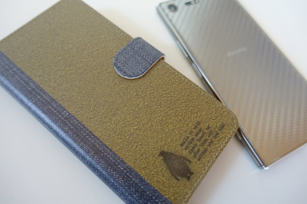 【Xperia XZ Premium】スエード&デニム風手帳型ケース